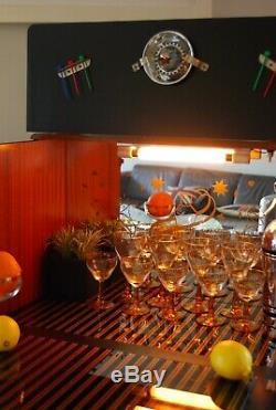 Walnut Mid Century Cocktail Cabinet Drinks Gin Bar Art Deco Sunburst