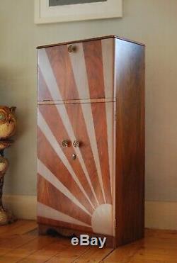 Walnut Vintage Sunburst Cocktail Cabinet Drinks Gin Bar Art Deco Mid Century