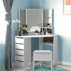 White Dressing Table Vanity Makeup Desk with 5 Drawers, Mirror Set and Stool UK