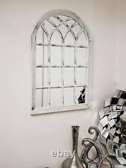 White Rustic Soho Window Style Mirror Vintage Hallway Wall Mirror 50.5X71X2.5