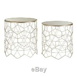 Yuma Champagne Round Side Table Set of 2
