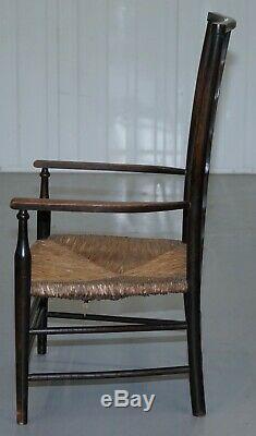 1 De 2 19ème Siècle Morris & Co Liberté London Lathback Fauteuil Rush Seat Petit