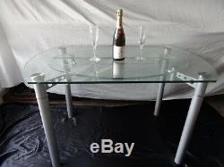 1 Style De Style Art Déco Rond En Verre Chromé Métal Rallongeant Les Sièges De La Table À Manger 4
