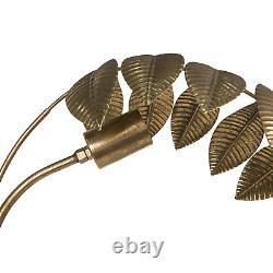 147cm Tall Palm Leaf Standard Lamp Metal Distressed Gold 60 Watts