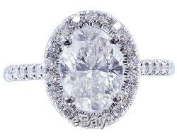 14k Or Blanc Massif Ovale À Diamant Bague De Fiançailles Style Art Déco 2.00ctw