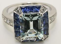 18ct. Bague Grappe De Diamants Avec Aigue-marine, Saphir Et Diamants, Style Art Déco