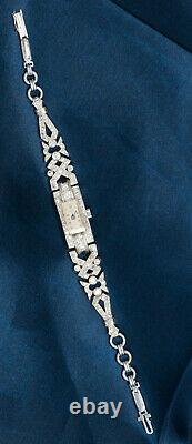 1920 Art Déco Platinum Égyptien Revival Avec Diamants Bracelet Montre