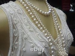 1920's Style New Flapper Crème De Robe En Perles À La Main