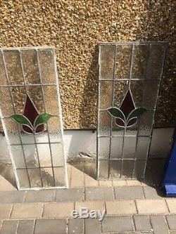 1930 Style Art Déco Vitrail Plombé Façade En Bois Porte Et Deux Fenêtres Latérales
