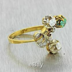1940 Vintage Style Art Déco Solid Or Jaune. 25ct Emerald Diamond Ring
