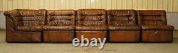1960 Restauré De Sede Modular Ds Br Brown Leather Corner Sofa Fauteuil Suite