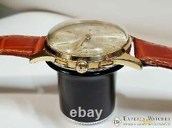 1960 Vintage Serviced Cauny Prima Montre Chronographe Plaqué Or Landeron 248