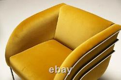 1970 Art Déco Or Velvet Et Chrome Milo Baughman Style Lounge Chaises