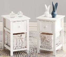 2 Des Tables De Chevet En Bois Shabby Chic White Drawers & Cabinet Panier