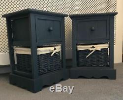 2 X Chevet Grey Cabinet Tables Avec Nightstand Panier Et Tiroir Wicker