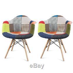 2 X Fauteuils De Salle À Manger Rembourrés De Baignoire En Tissu Patchwork Reto Style Vintage Eiffel