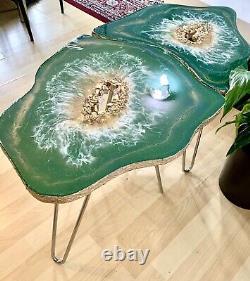 2 Xgeode Résine Cristal Vert Or Art Résine Peinture Décor Café / Table D'côté Ensemble