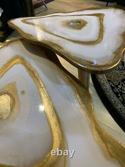 2handmade Geode Resin White Gold Art Resin Painting Décor Café/table D'côté Ensemble