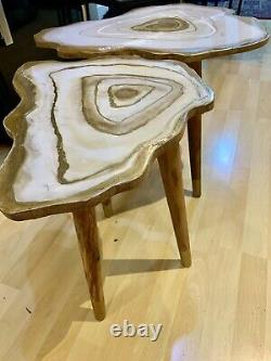 2handmade Geode Résine White Gold Art Résine Peinture Décor Café/table D'appoint Ensemble