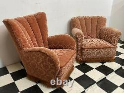 2x Vintage 1940 Style Art Déco Fauteuils De Salon Rembourrés Livraison