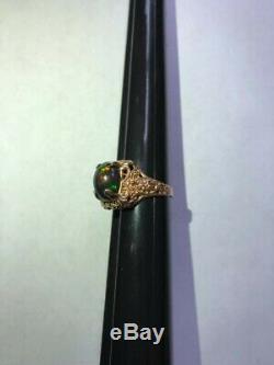 3,85 Ct Naturel Noir Opale, 10 K Rose Art Unisexe Or Déco Bague De Style. Voir La Vidéo
