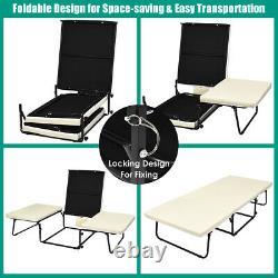 3 Dans 1 Sofa Lit Pliant Chaise Longue Dormir Convertible Hauteur De Chaise Réglable
