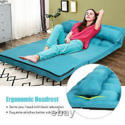 3 In 1 Pliant Lazy Canapé-lit Étage Sleeper Siège 6-position Réglable 2 Oreillers
