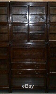 3 Rare 1920 Gunn Bibliothèque Bibliothèques Stacking + Bureau Bureau Minty Globe Wernicke