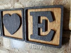 3d Scrabble Tiles Lettre En Bois Wall Art Contreplaqué Fini Huile Décor Personnalisé