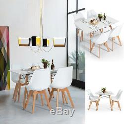4 Chaises De Salle À Manger De Designer Blanches Et Ensemble De Table Chaises De Table À Pieds En Bois Mat