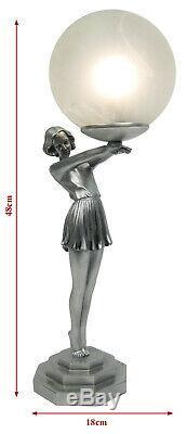 48cm Lampe De Table Art Déco Lady Figurine En Verre Globe Ombreux Ampoule