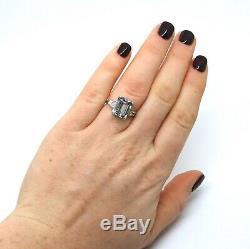 A Fine Style Art Déco Platinum 5.30ct Aquamarine Et Diamant # 17628 Cluster Anneau