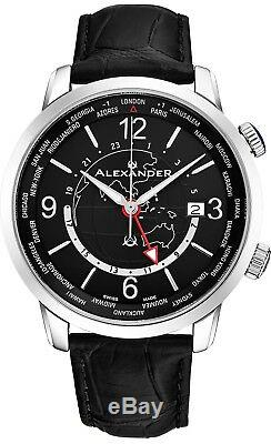 Alexander Journeyman Mondiale Horloge Suisse Hommes Made Montre Sapphire Crystal 40 MM