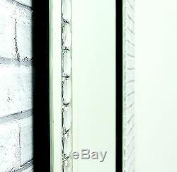 Alma Miroir Mural Rectangulaire Avec Cadre En Verre De Cristal Argenté 48x32 De Très Grande Taille