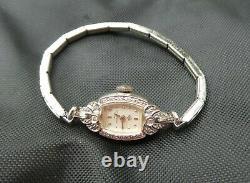 Anciennes Années 1940 Lady Hamilton 14k Or Blanc Ladies Art Déco Diamant Montre De Robe