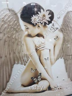 Anges Avec Des Ailes En Argent / Or / Or Rose Avec Des Cristaux Et Des Cadres De Miroir