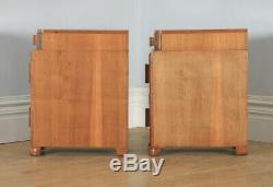 Antique Anglais Paire De Art Déco Ronce De Noyer Tables De Chevet Commodes Rangements