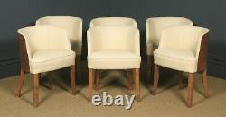 Antique Art Déco Epstein Burr Walnut Dining Table & Six Leather Dining Chairs