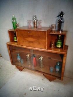 Antique Art Deco Noyer Noir Cocktail Cabinet / Bureau Art Moderne Home Bar C1925-39