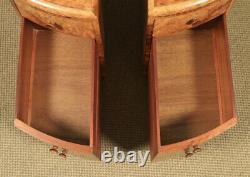 Antique Paire Anglaise De L'art Déco Burr Walnut Bedside Chests Tables Tables Nightstands