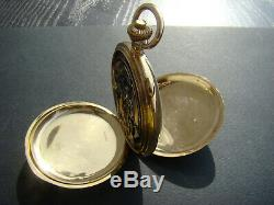 Antique Solid Gold 18k Plein Hunter Quarter Répéteur Chronographe Montre De Poche