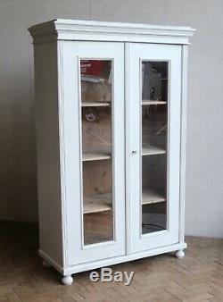 Antique Vintage Peint Larder Linge De Presse Entièrement Vitrée Armoire Armoire Cabinet