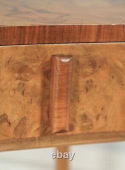 Antiquité Art Deco Burr Noyer Boudelle Chambre À Chevet Occasionnelle Lampadaire Latérale