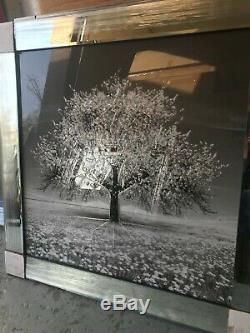 Argent Blossom Arbre 3d Glitter Image Dans Le Cadre Miroir