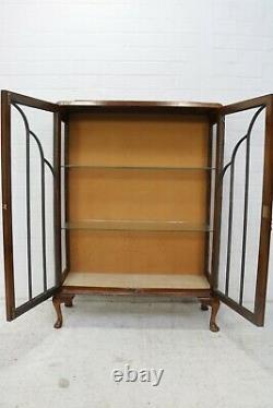 Armoire D'affichage En Noyer Vintage De Style Art Déco Avec Portes Vitrées
