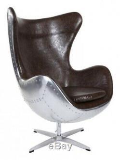 Arne Jacobsen Inspirée Spitfire Egg Chair Aluminium Brown Faux Cuir Brandnew