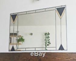 Art Déco 1 Miroir Teinté Verre Plombé. Grand 91x61cm 3x2 Ft