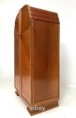 Art Deco Anciennes Oak Compact Tallboy Gentlemans Armoire C1940