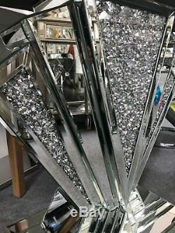 Art Déco Argent Miroir Table Console En Verre Miroir Cristal Écrasé Défaut