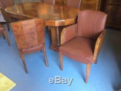 Art Deco Burr & Noyer Figuré Table À Manger Et Chaises C 1930